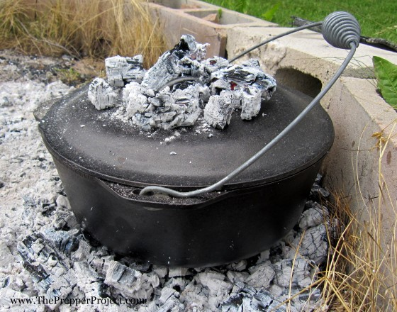 My Dutch oven doesn't have a flat lid and rim for keeping hot coals on top...but it works pretty well just the same.