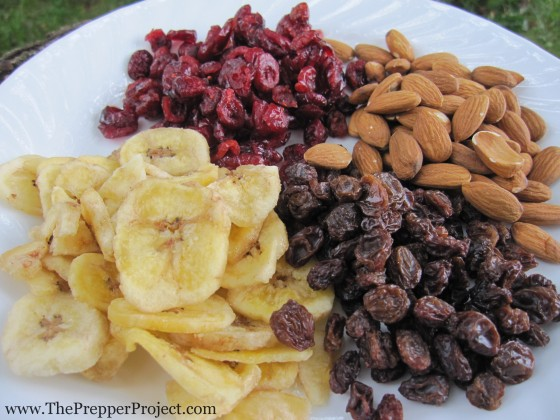 Nuts and dried foods provide energy and are easy to pack and eat on the run.