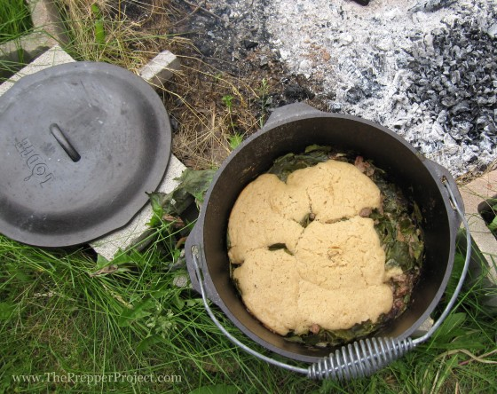 A hot meal ready to serve right out of the Dutch oven.