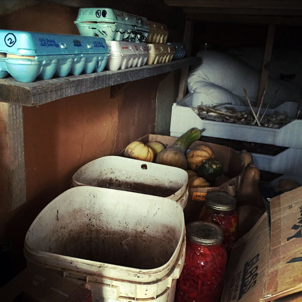 The coolest, most humid area of our home functions as a makeshift root cellar in the winter months